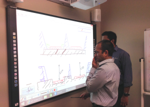 Interact Us digital solutions in the work place using interactive whiteboard for collaboration and problem solving